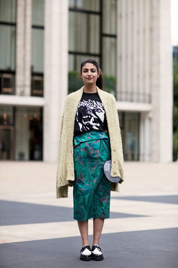 girl on the street- candid- work appropriate attire- black and white creepers- colorful midi skirt