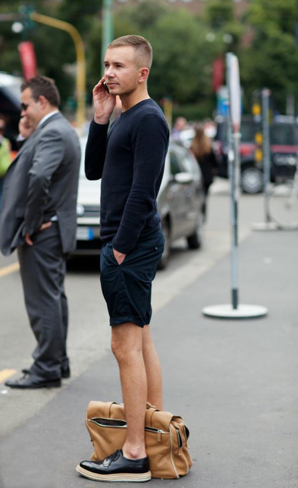 mens street style- summer spring- prada creepers- navy shorts- navy sweater- tan bag